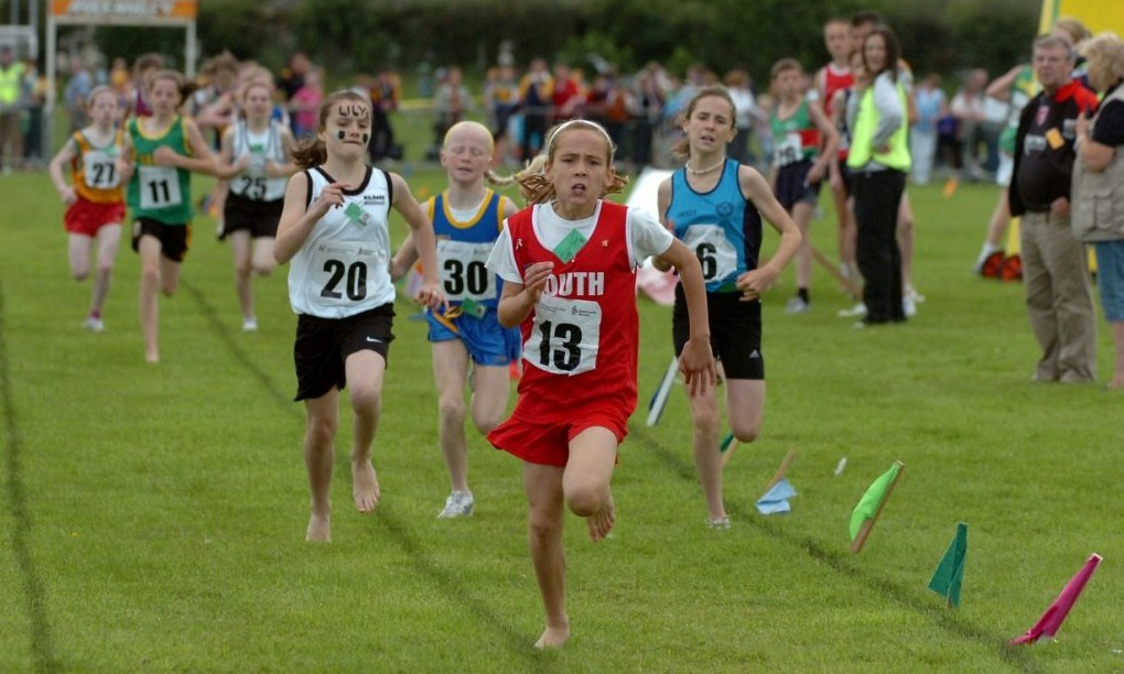 Amy McTeggart leads at National Athletics Finals (Mosney, August 2007)
