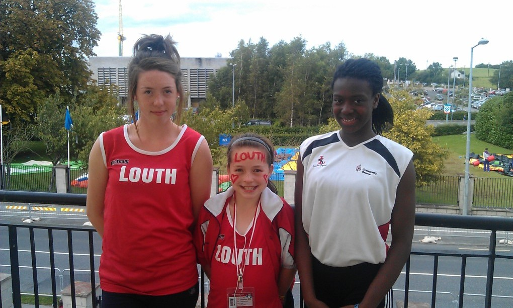 Niamh Kelly, Kate Kelly & Gina Moses at National Athletics Finals (Athlone, August 2012)