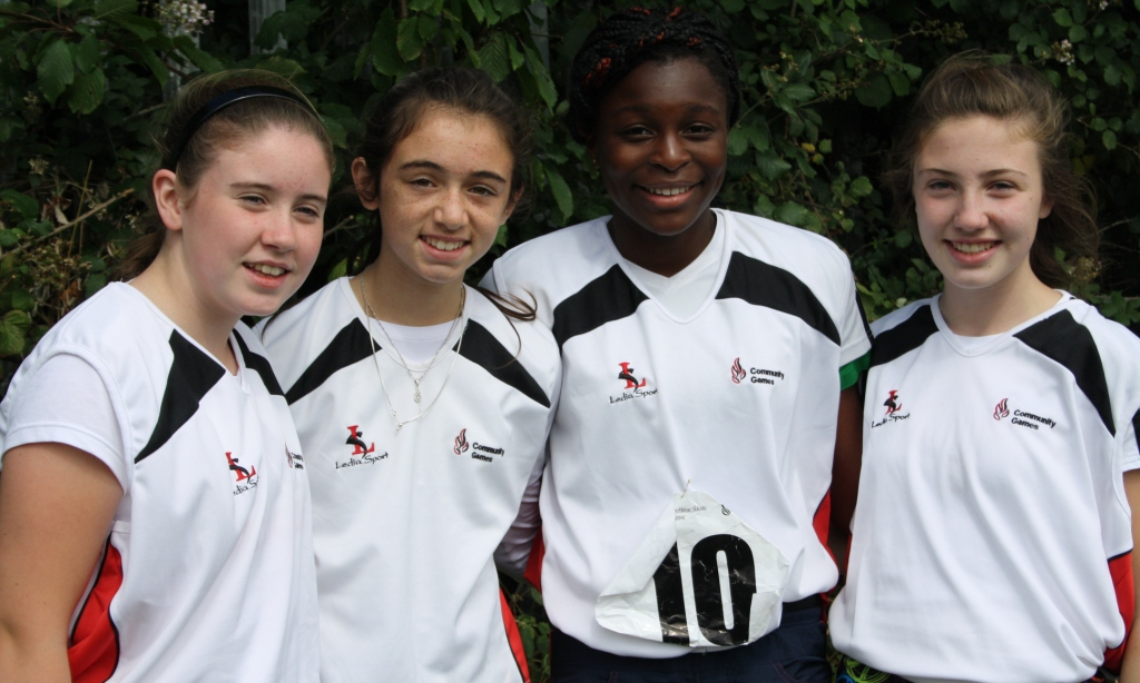 St Joseph's, Dundalk relay team (Shauna McMahon, Caitlin Mulholland, Patience Jumbo Gula, Clodagh Roe) at National Athletics Finals (Athlone, August 2013)