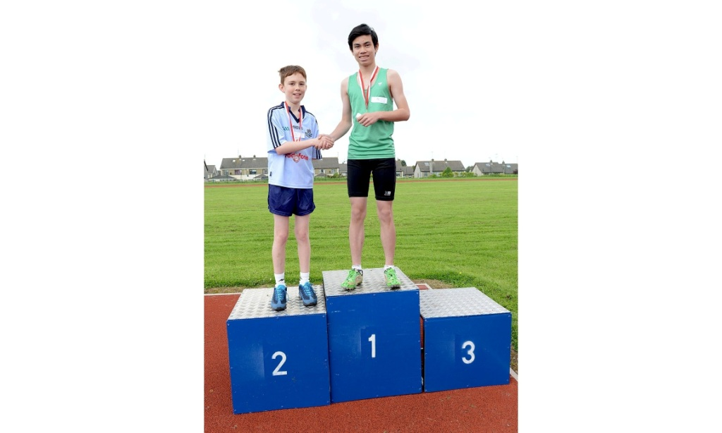 Paul McGlynn (1st) and Seán Savage (2nd) at County Athletics Finals (Drogheda, June 2014)