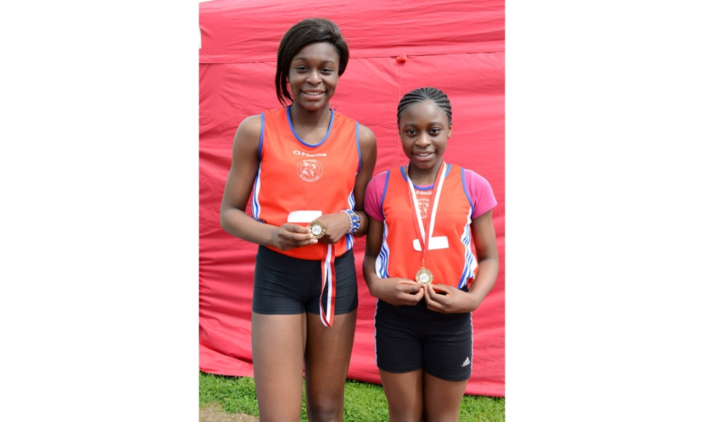 Patience and Patricia Jumbo Gula at County Athletics Finals (Drogheda, June 2014)