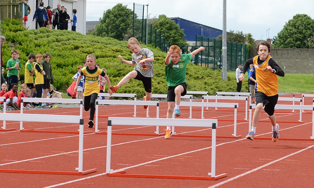 Athletes in action at County Athletics Finals (Drogheda, June 2014)