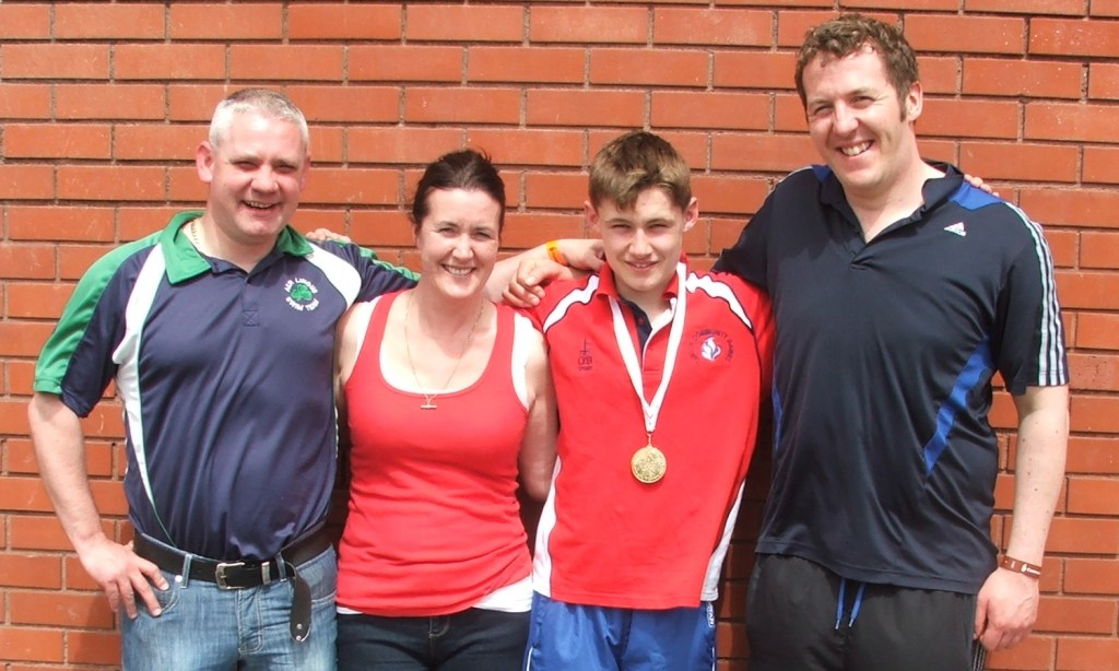 Pádraig, Pauline & Jack McCullough with Colin Lowth at National Swimming Finals (Athlone, May 2013)